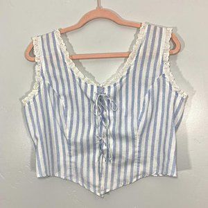Vintage 90's Blue White Striped Eyelet Lace Top